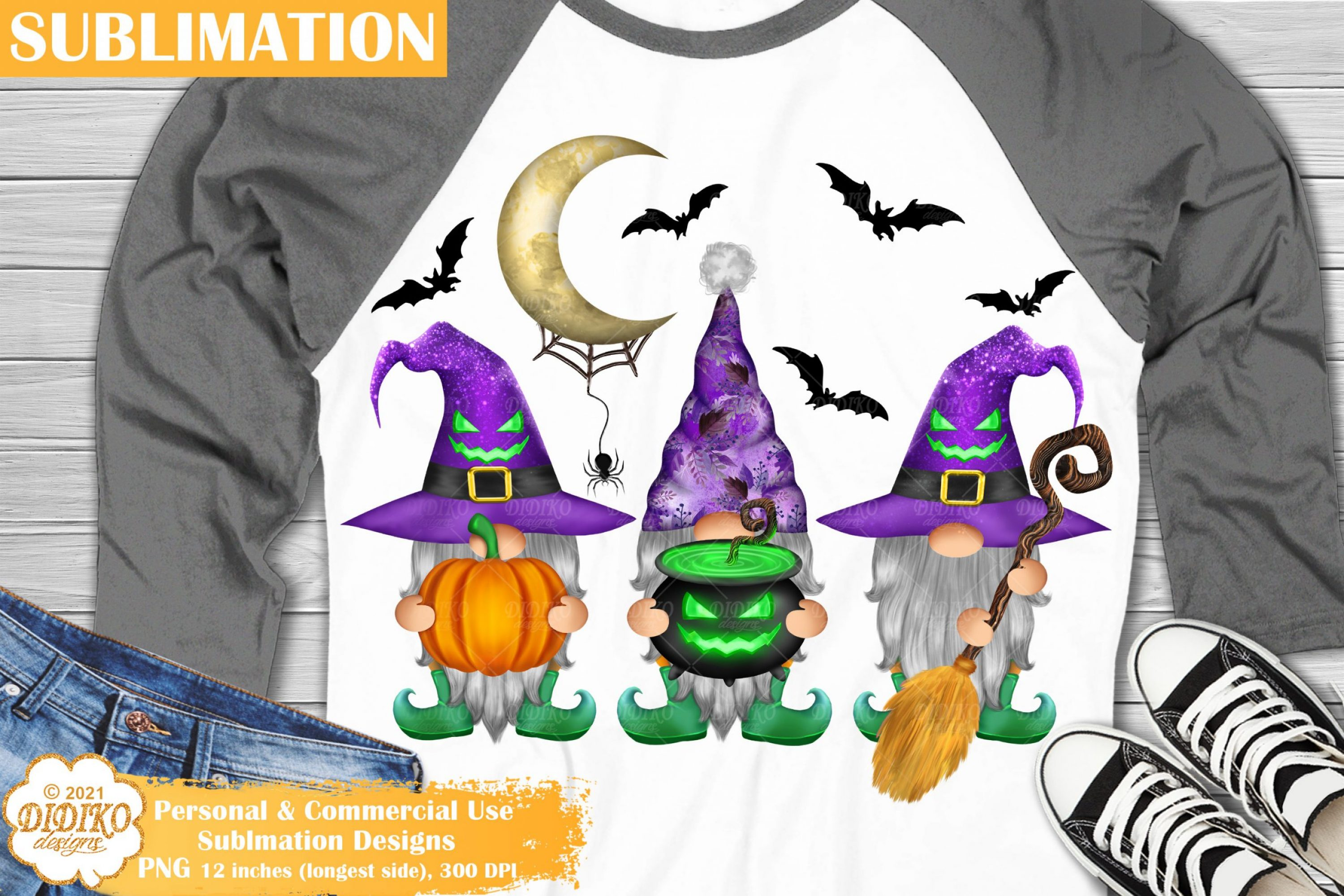 Halloween Gnomes Sublimation Png, witch gnomes png