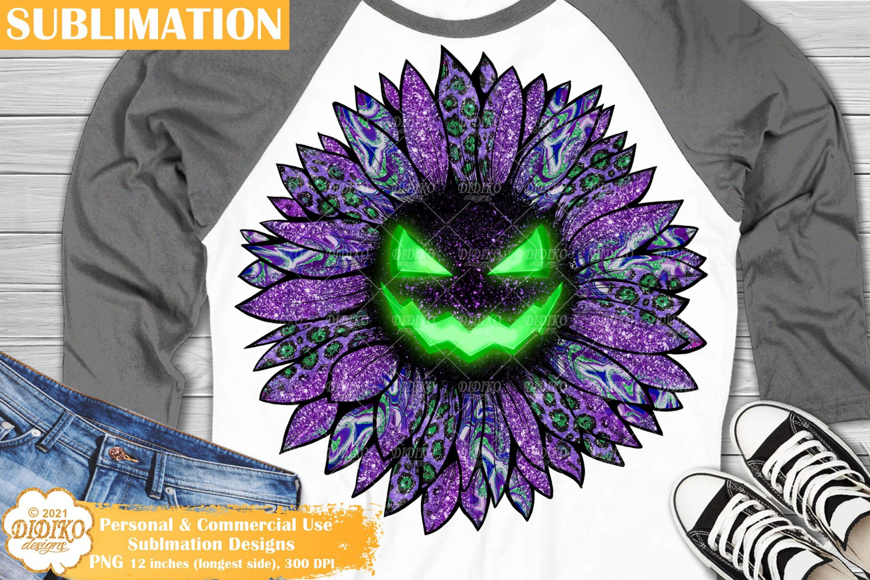 Halloween Sunflower Sublimation Png, Spooky Pumpkin