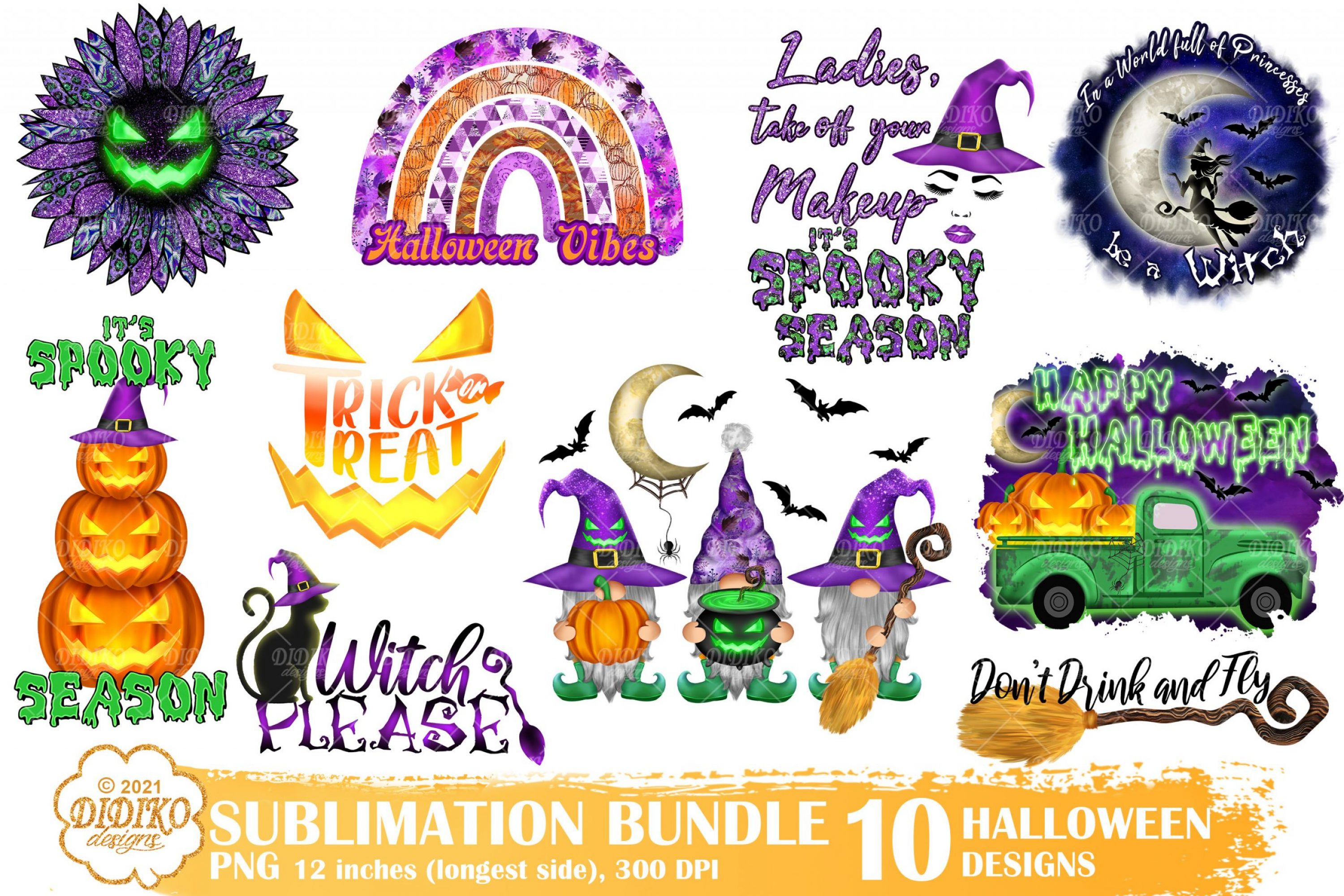 Halloween Witch Sublimation Bundle, Gnomes Png