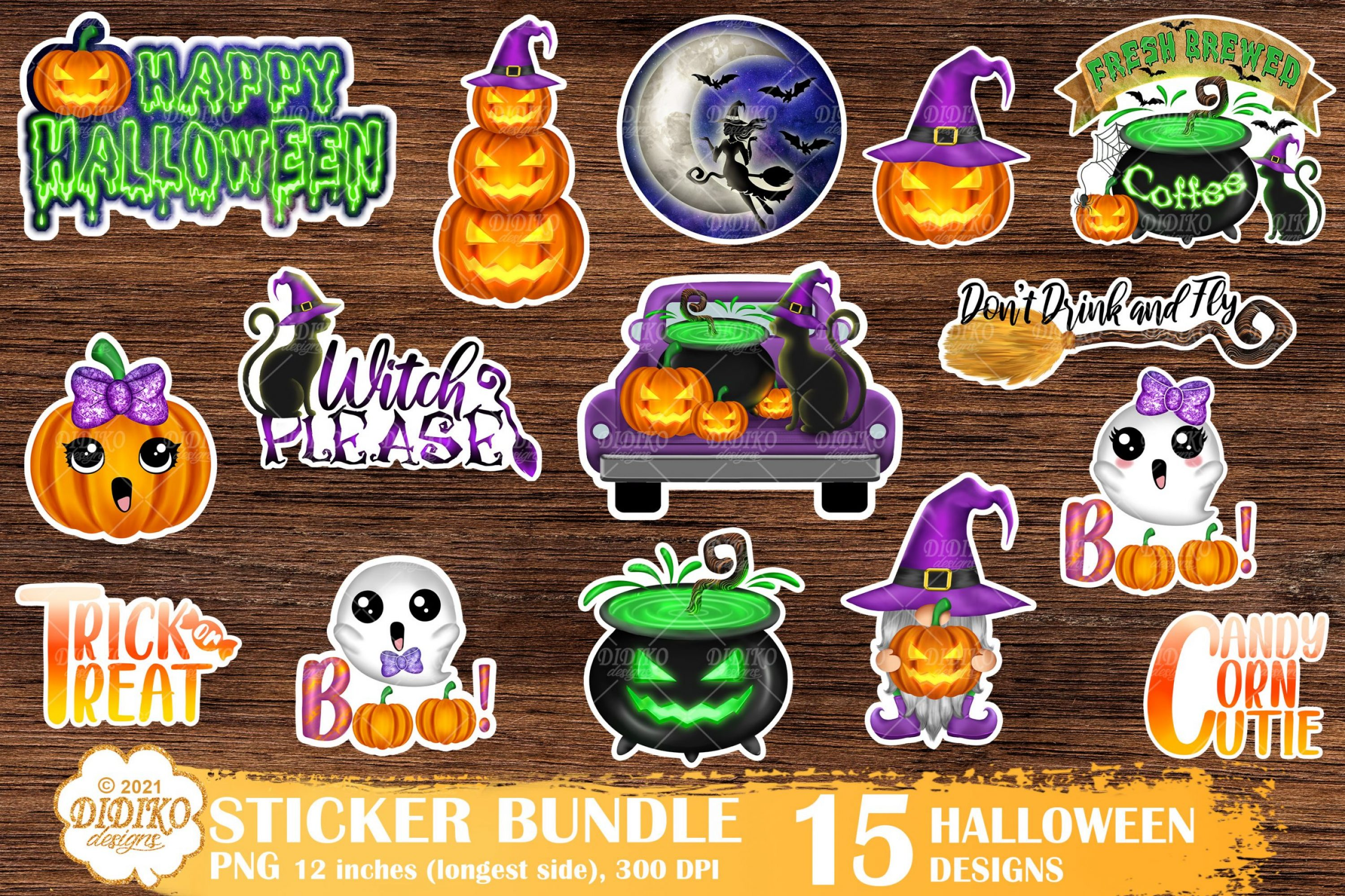 Halloween Stickers Bundle, Witch Stickers Png, Fall Png