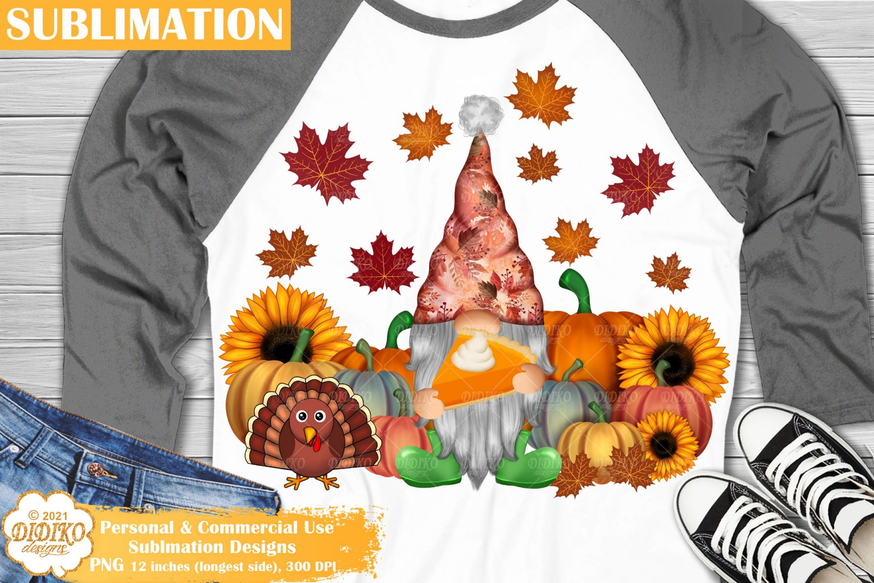 Thanksgiving Gnome Sublimation, Fall Farmhouse Png