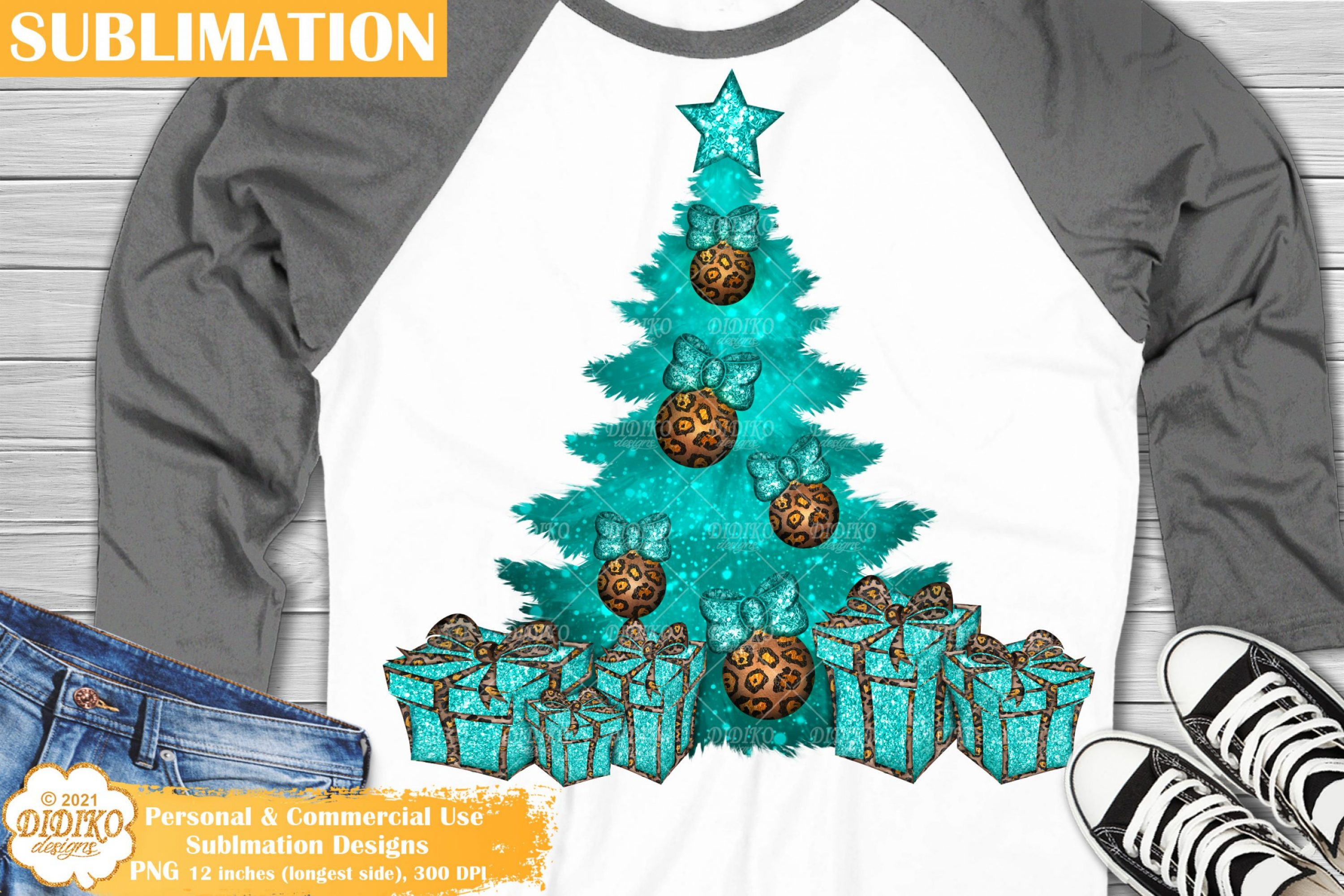 Christmas Tree Sublimation, Leopard print png, turquoise