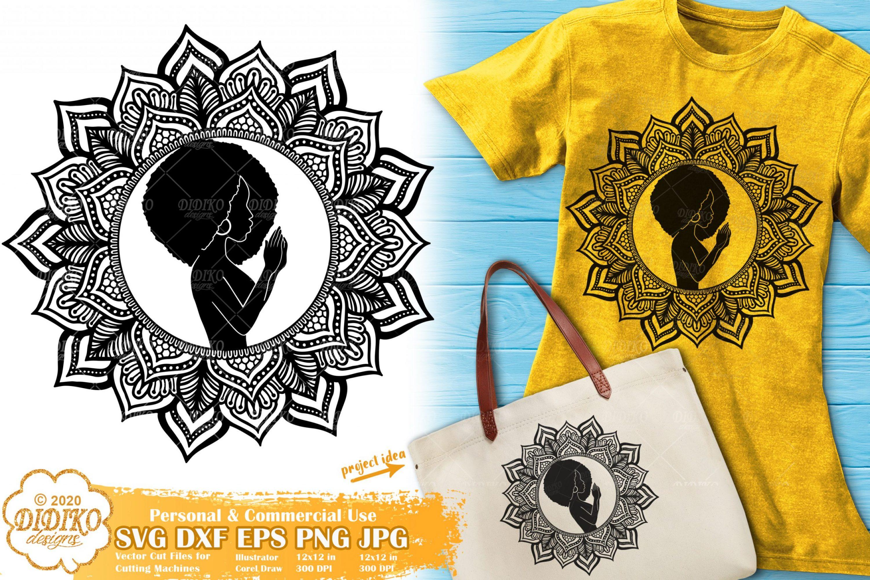 Black Woman Praying SVG #2, Mandala SVG, Black History SVG, Cricut File