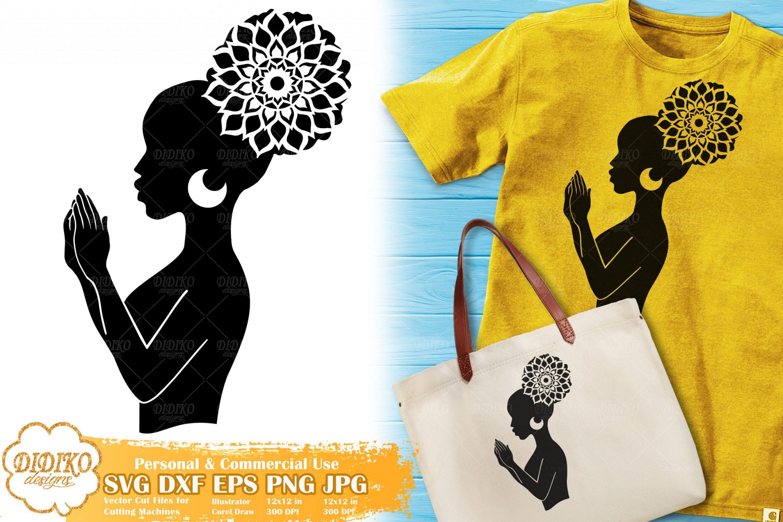 Black Woman Praying SVG #3, Mandala SVG, Black History SVG, Cricut File