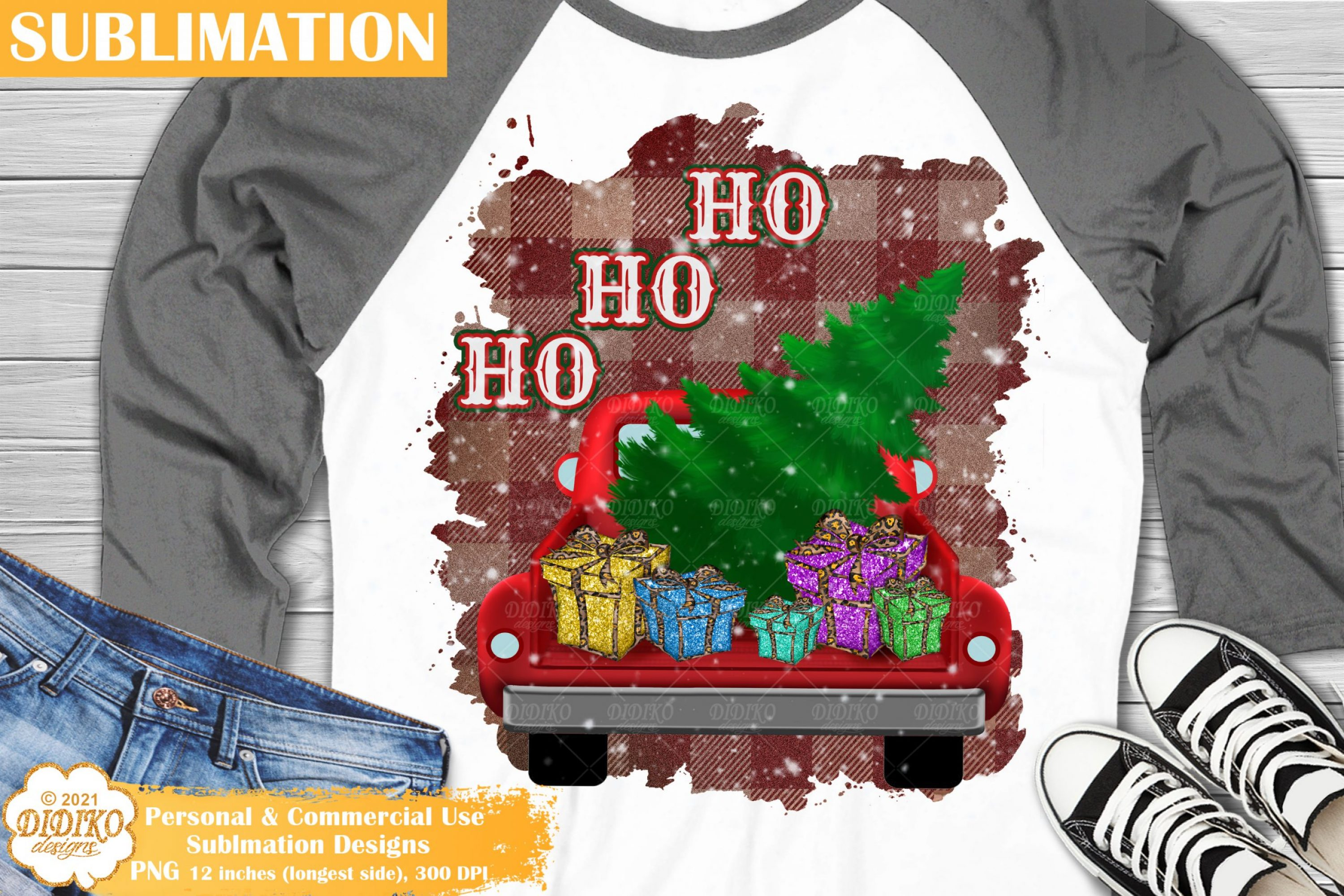 Christmas Truck Sublimation, Christmas Tree Gifts Png