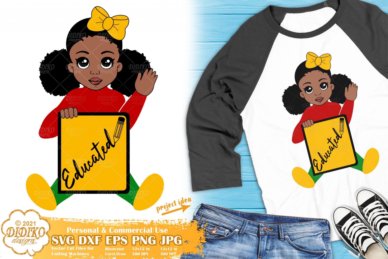 Black Girl School SVG, Black educated svg, Afro puff svg