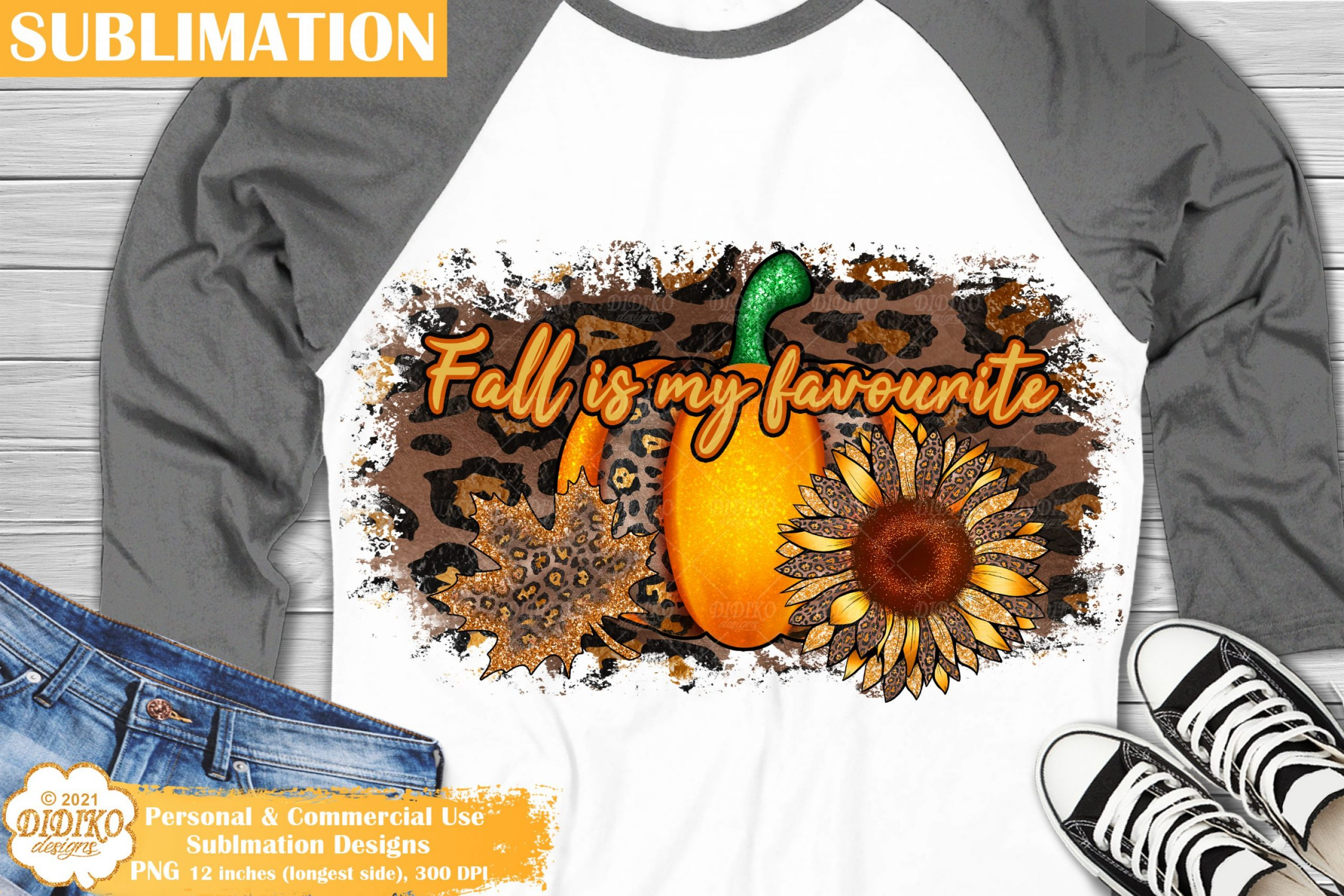 Fall Quote Sublimation, Pumpkin Sunflower Leopard Png