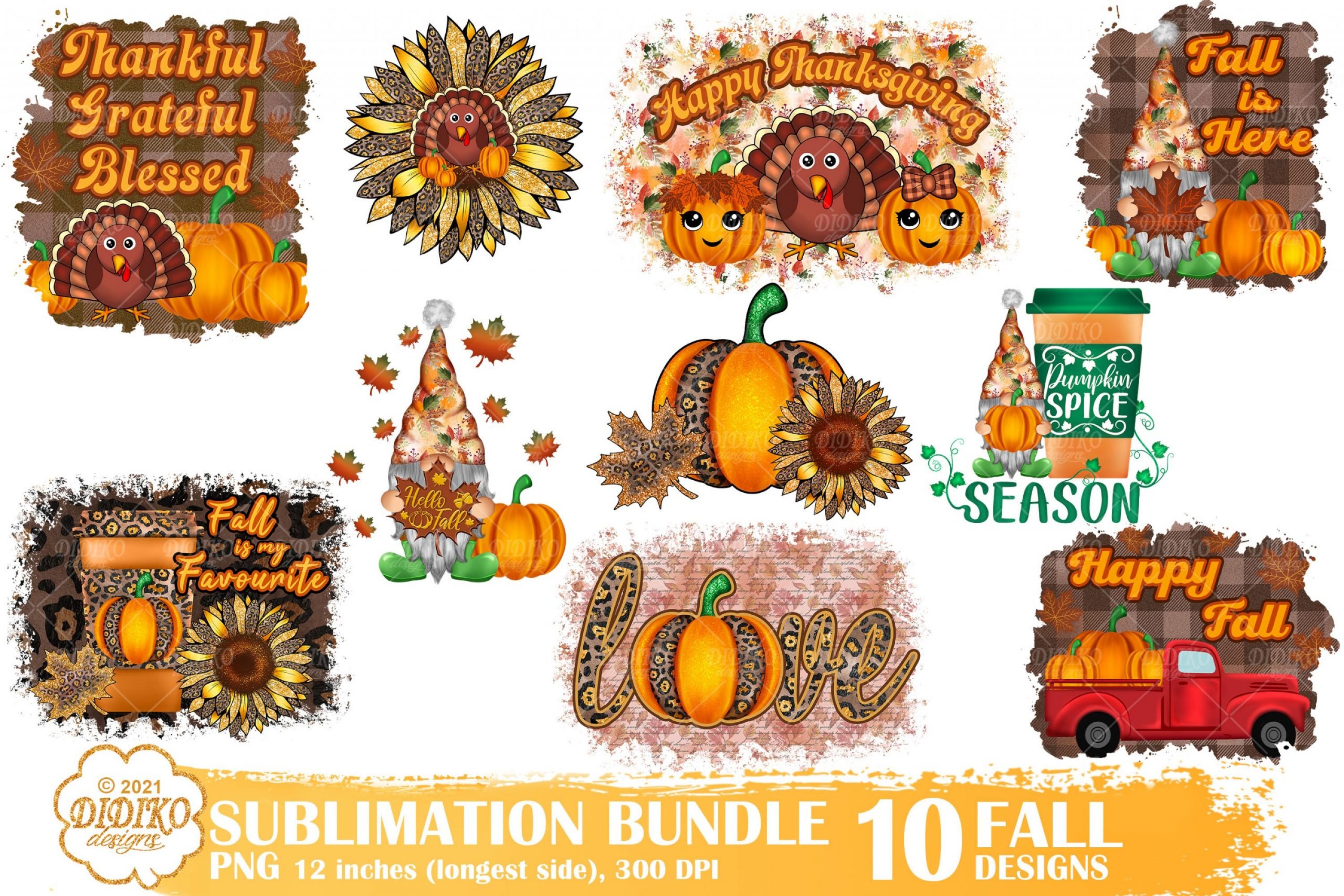 Fall Sublimation Png Bundle, Thanksgiving Gnomes Png