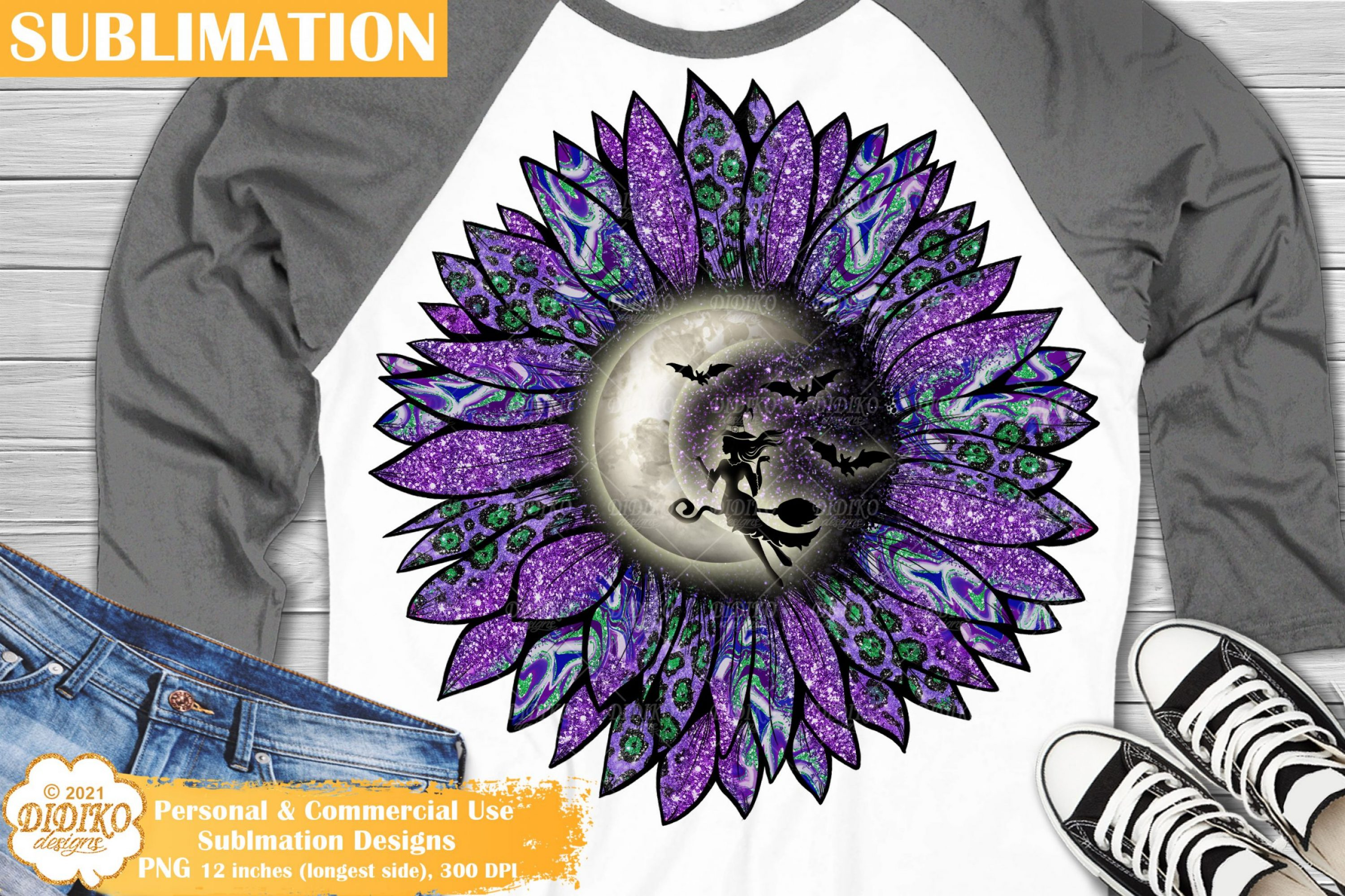 Halloween Sunflower Sublimation, Witch sublimation png
