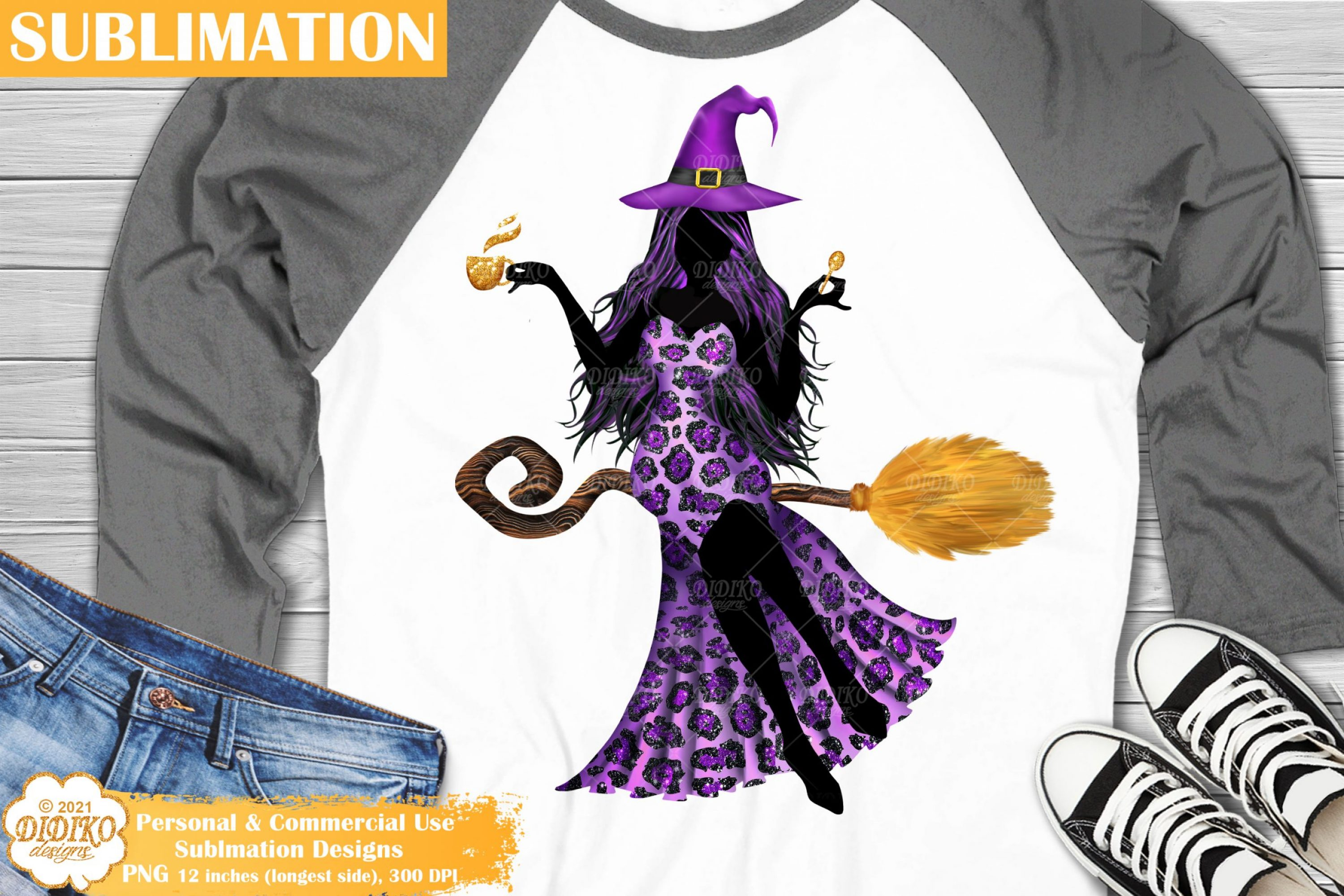 Flying Witch Sublimation, Halloween Sublimation Png