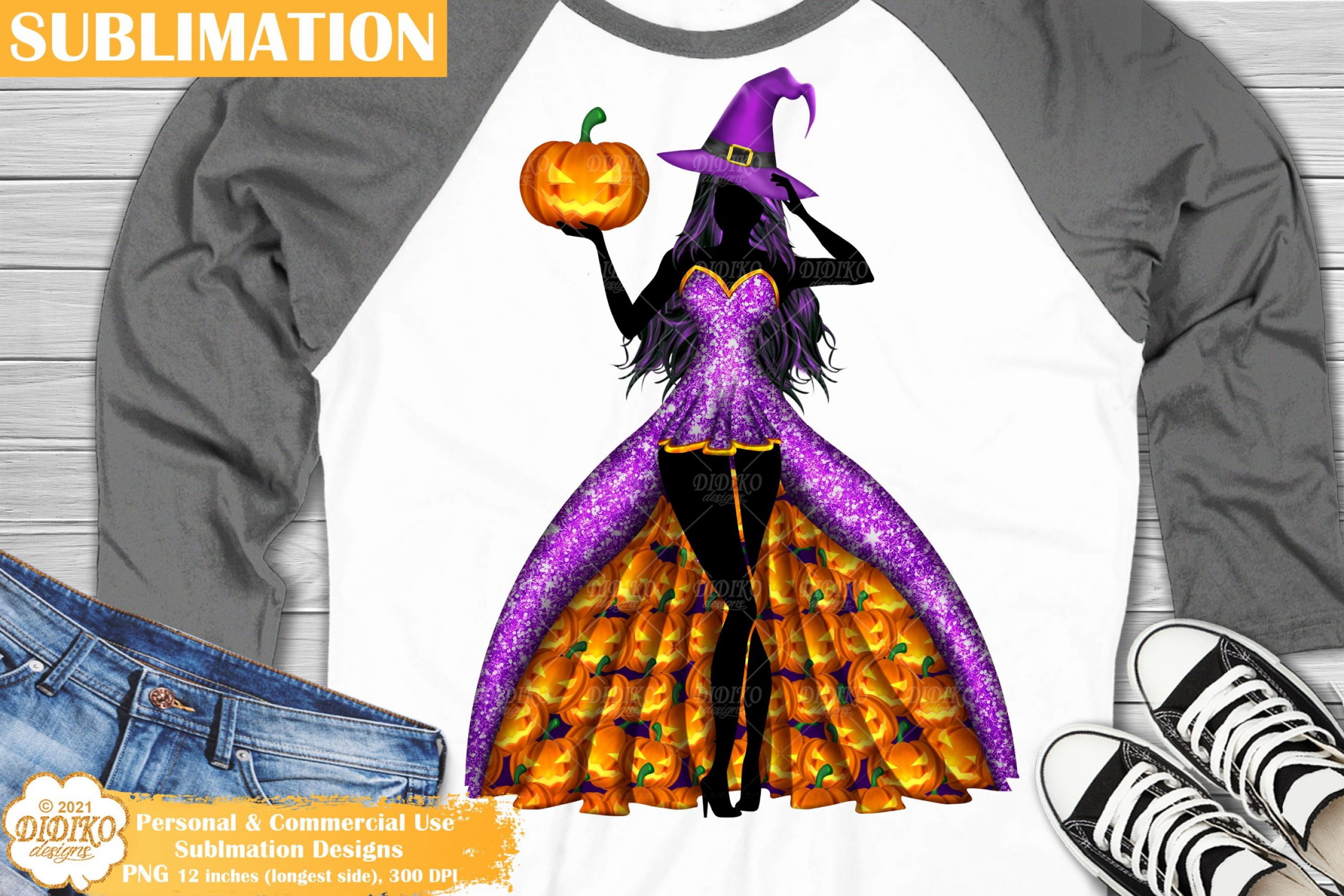 Witch Sublimation #2, Halloween Pumpkin Sublimation