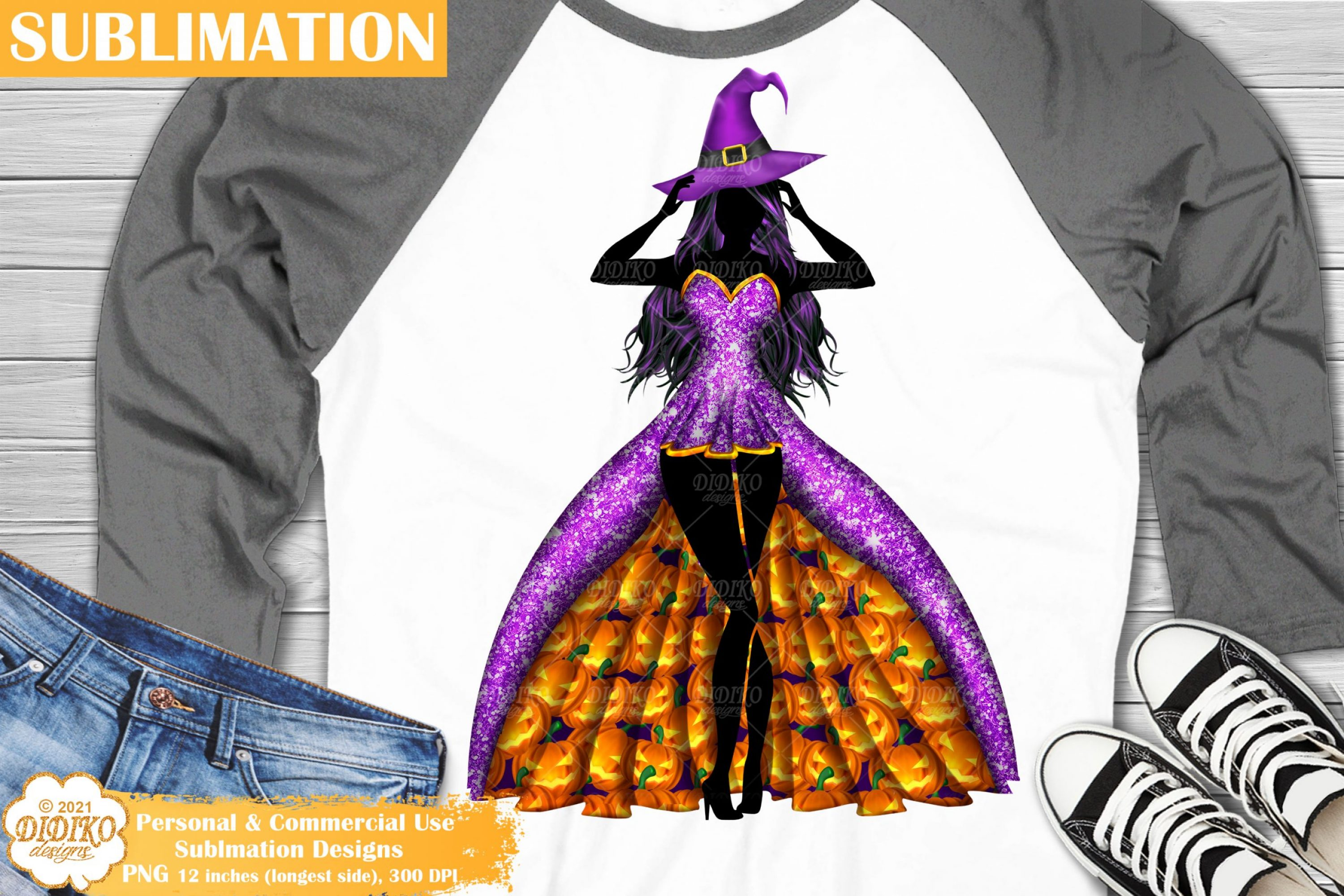 Witch Sublimation #1, Halloween Pumpkin Sublimation